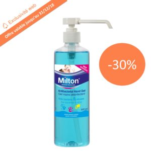 Promotion gel désinfectant main Milton - Laboratoire rivadis