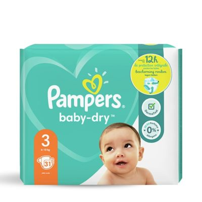 Couches Pampers baby-dry 6/10 kg  - Taille 3