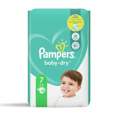 COUCHES PAMPERS BABY-DRY +15 KG - TAILLE 7